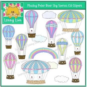 Plushy Polar Bear Sky Stories CU Clipart