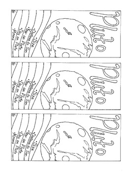 Pluto Bookmark Solar System Coloring Page PDF Printable