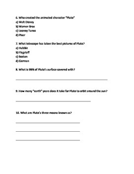 Pluto - Dwarf Planet - Article Lesson all the facts questions vocabulary info