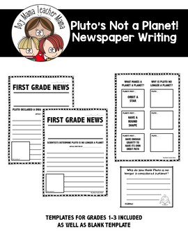 Pluto's Not a Planet Newspaper Writing