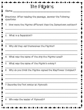 Plymouth Bundle - Worksheets & Activities