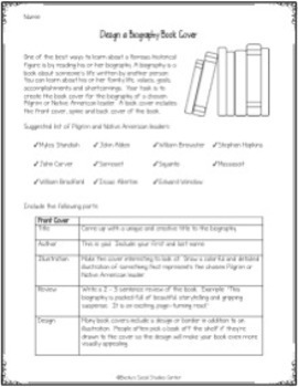 Plymouth Colony: Create a Biography Book Cover for a Colonist or Native American