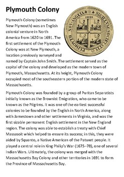 Plymouth Colony Handout