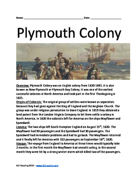 Plymouth Colony Pilgrims - History Review Activities First Thanksgiving Lesson
