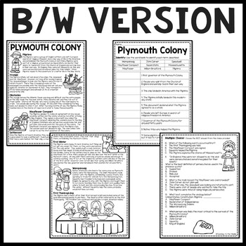 Plymouth Colony Reading Comprehension Worksheet, Squanto, Pilgrims, Mayflower