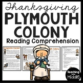 Plymouth Colony Reading Comprehension, Plimoth, Squanto, Pilgrims, Mayflower