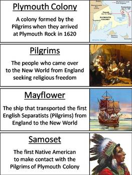 Plymouth Colony Word Wall Cards: Indians, Pilgrims, Mayflower Compact, etc.