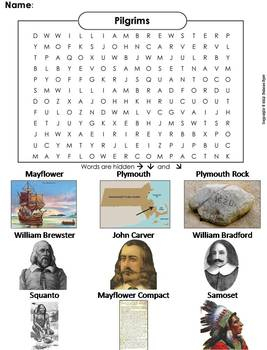 Plymouth Colony Word Search:  Indians, Pilgrims, Mayflower Compact, etc.