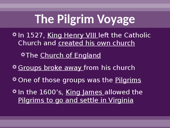 Settlement of North America - Plymouth Colony and the Pilgrims PowerPoint