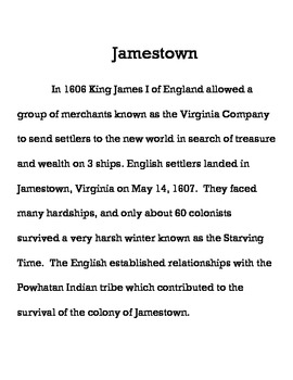 Plymouth & Jamestown Compare Contrast