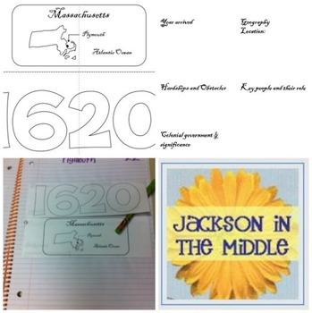 Plymouth Mayflower Foldable for Interactive Notebook