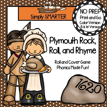 Plymouth Rock, Roll, and Rhyme:  NO PREP Thanksgiving Roll and Cover Game