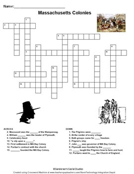Plymouth and Massachusetts Bay Colony Crossword Puzzle Worksheet