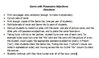 Possessive Adjectives Card Game