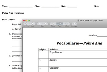 Pobre Ana -- Comprehension Questions and Vocab (in Spanish)