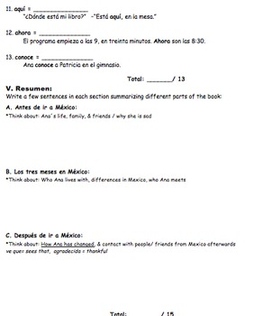 Pobre Ana Quiz / Test (3 Pages/ 5 Sections)
