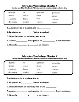 Pobre Ana Vocabulary Fill-in-the-Blank (All 9 Chapters!)