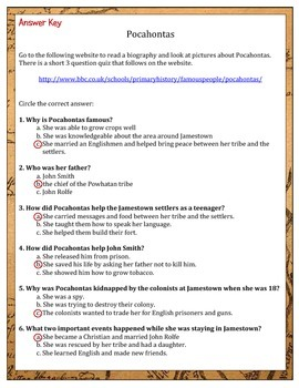 Pocahontas: An Internet Biography Assignment - Jamestown