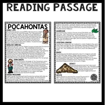 Pocahontas Biography Reading Comprehension; Jamestown; John Rolfe