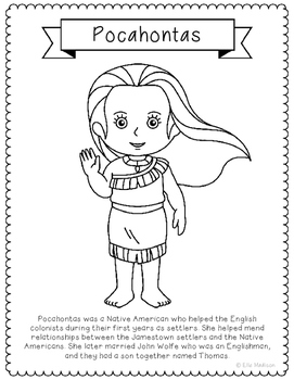 Pocahontas Coloring Page Activity or Poster with Mini Biog