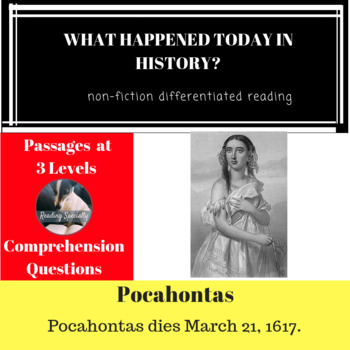 Pocahontas Differentiated Reading Passage March 21