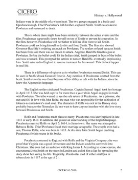 Pocahontas: History v. Hollywood