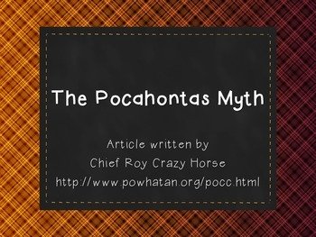 Pocahontas Myth - Extended Response Answers