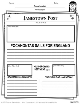 Pocahontas Packet- 19 PAGES of Fun Activities