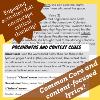 Pocahontas Reading Comprehension Biography Activity with Song