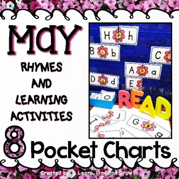 Pocket Chart Activities Kindergarten PreK for May - 8 Activities 50% off 48 hour