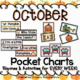 October Pocket Chart Activities and Rhymes - 5 Little Pumpkins and more