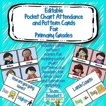 Pocket Chart Attendance and Pattern Cards for Primary Grades - editable