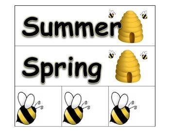 Calendar: Pocket Chart Calendar Cards - Bees