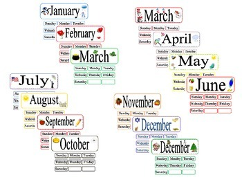 Pocket Chart Calendar Months
