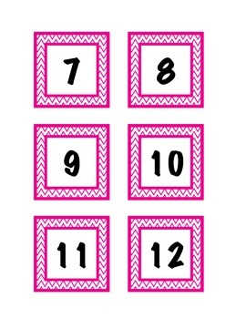Pocket Chart Calendar Numbers-Chevron