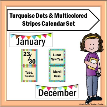 Pocket Chart Calendar Set in Turquoise Dots and Stripes