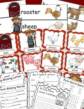 Farm Animals Pocket Chart Cards and Writing Activities for Your Farm Unit