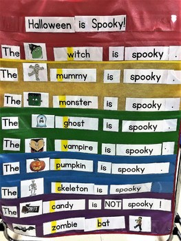 Pocket Chart Cards to use alone or with my book Halloween is Spooky!