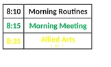 Pocket Chart Daily Schedule Template