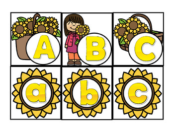 Pocket Chart Find Me Fun: ABC and Beg. Sound Match Sunflowers