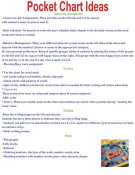Pocket Chart Ideas- reading, writing, math