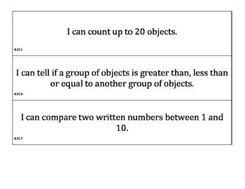 Pocket Chart Kindergarten Math Common Core Standards