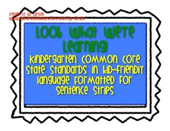 Pocket Chart Kindergarten LA Common Core Standards