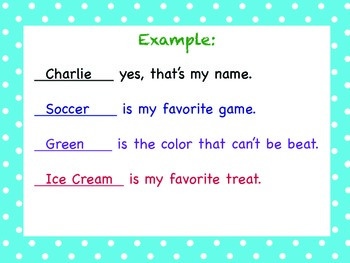 Pocket Chart Name Poem