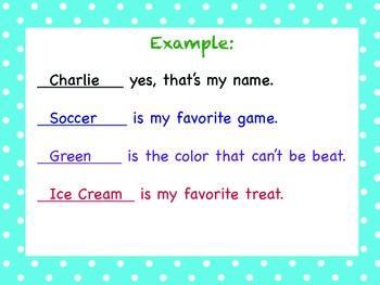 Pocket Chart Name Poem