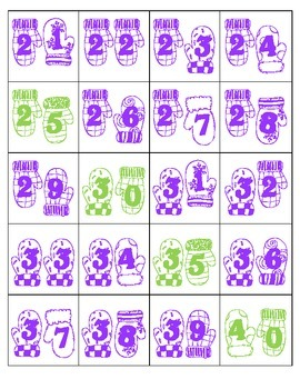 Pocket Chart Numbers 1 - 120 ~ Winter Theme