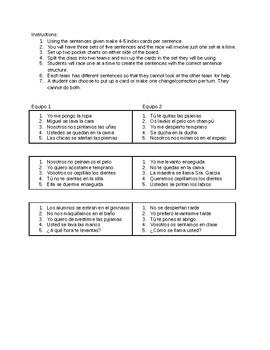 Pocket Chart Relay Race: Los verbos reflexivos