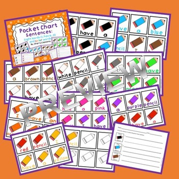 Pocket Chart Sentences: Sight Words (I, have, a) and Color Words (Pencils)