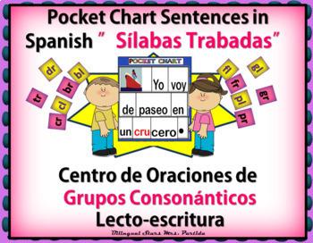 Silabas Trabadas BUNDLE Pocket Chart Sentences Grupos Consonanticos MrsPartida
