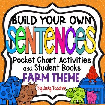 Pocket Chart Sentences With Student Books (Farm Animal Theme)